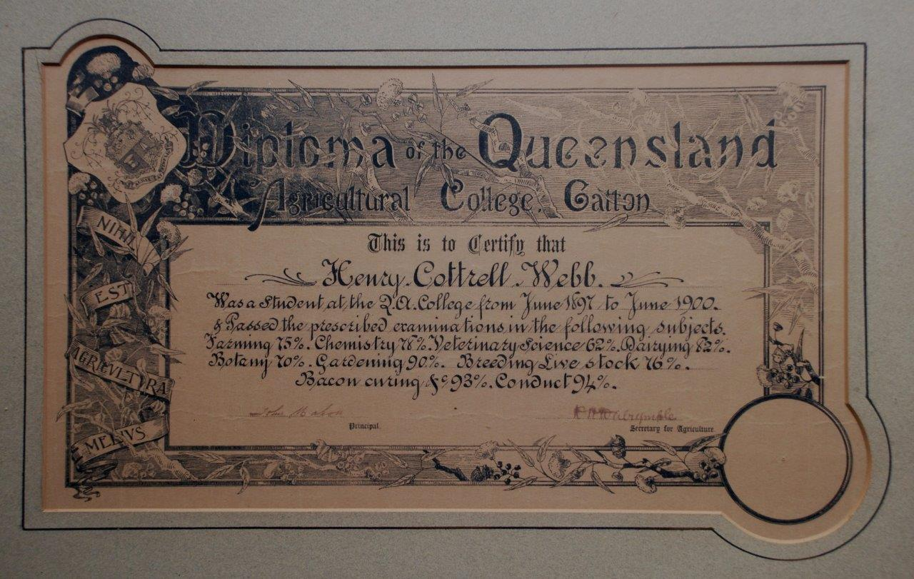 First Diploma issued at Gatton 1900